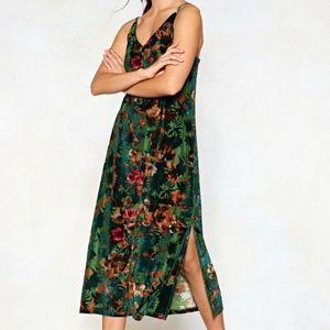 Nasty Gal Velvet Floral Burnout Slip Dress